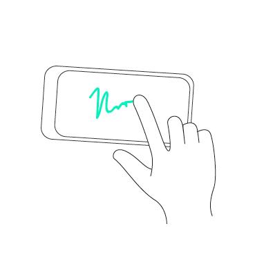 podpis prstem na telefonu